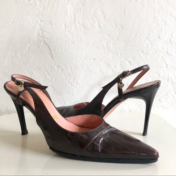 4595543599bfc Escada Brown Leather Slingback Pump Pointed Heels